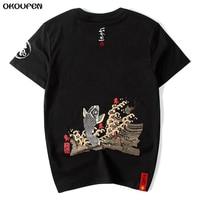 High Quality Japanese Summer Men T Shirts Printed Goldfish Short Sleeved Cotton Tops Hip Pop Man