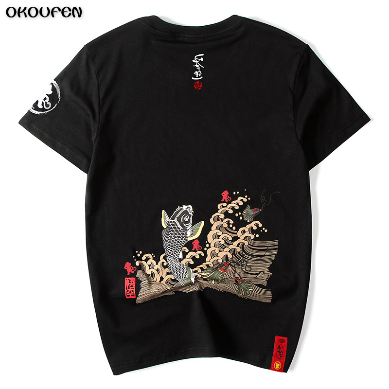 High Quality Japanese Summer Men T Shirts Printed Goldfish