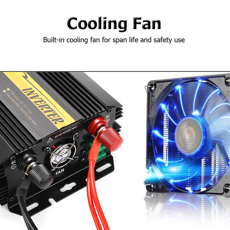 Dual USB Max 6000 Watts 3000W Power Inverter DC 12 V to AC 220 Volt Car Adapter Charge Converter Modified Sine Wave Transformer 21