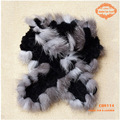CDS114 2014 New Wholesale Silver Fox Fur Edge Knitted Rex Rabbit Fur Lady Scarf