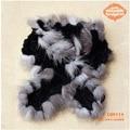 CDS114 2014 New Wholesale Silver Fox Fur Edge Knitted Rex Rabbit Fur Lady Scarf