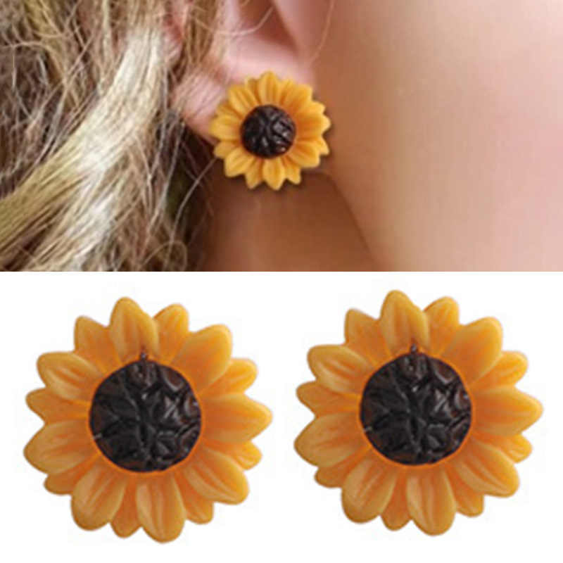 New Fashion Sunflower Big Acrylic Earrings Boho Summer Beach Holiday Flower Stud Earrings For Women Girls Charm Jewelry