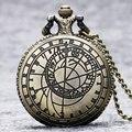 Moda Bússola Retro Vintage Bronze Steampunk Quartz Pingente camisola Cadeia do Relógio Relógio de Bolso Homens Mulheres Presentes Frete Grátis