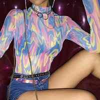 2019 Women Sexy See Through Mesh Bodysuit Summer Slim Casual Transparent Streetwear Bodycon Bodysuit T Shirt Camiseta