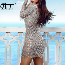 Beateen Silver Bandage Mesh Sequins Dress Long Sleeve Winter Sexy Bodycon Club Party Wear Women New Fashion(China)