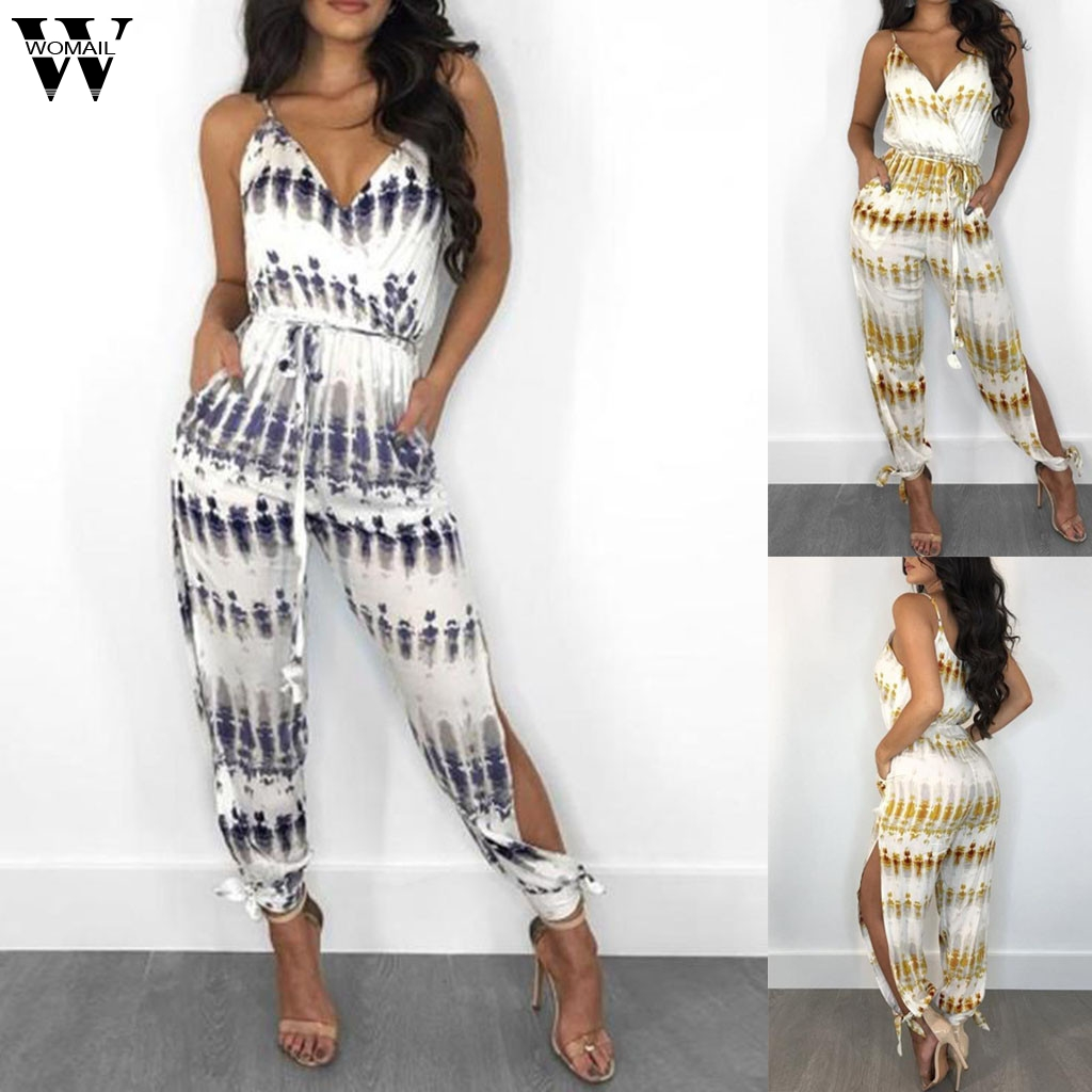 Womail Bodysuit Women Fashion Sleeveless Long Jumpsuit Ladies Lace Up Romper Holiday Print Wide Leg Playsuit 2019 J613