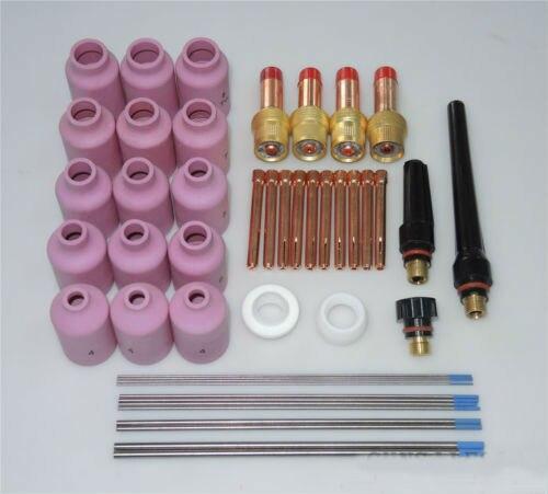 46 pcs TIG Welding Torch Gas Lens Kit WP-17 WP-18 WP-26 WL20 Lanthanate Tungsten Alumina nozzle wp
