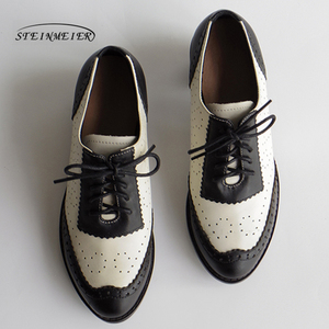 Image 4 - Women genuine leather oxford shoes round toe black white lady lace up brogues loafers casual shoes for women leather shoes 2020