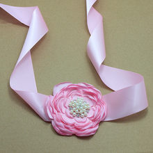 Princess pink satin Flower Sash with rhinestone wedding party Bridal silk Flower Belt Dress gown sash girl dress accessories(China)