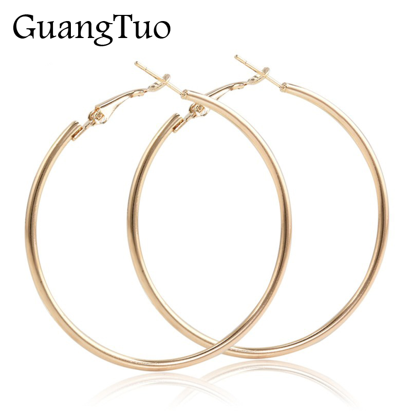 EK2088 Punk Big Size Hoop Earrings Brincos Trendy Party Exaggerated Gold Silver Color Round Circle Earrings For Women Jewelry