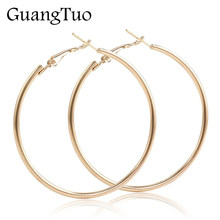 EK2088 Punk Big Size Hoop Earrings Brincos Trendy Party Exaggerated Gold Silver Color Round Circle Earrings for Women Jewelry(China)