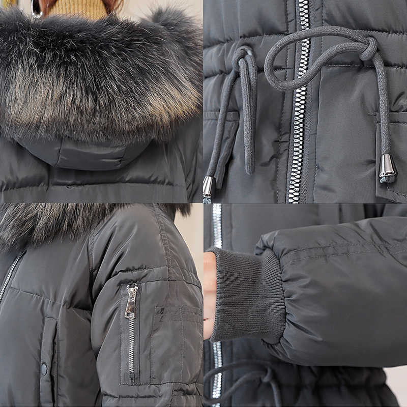 8557de62e4678 ... Plus Size Long Coat Women White Cotton Parka Tunic Long Sleeve Bubble  Coat Fur Collar Fashion