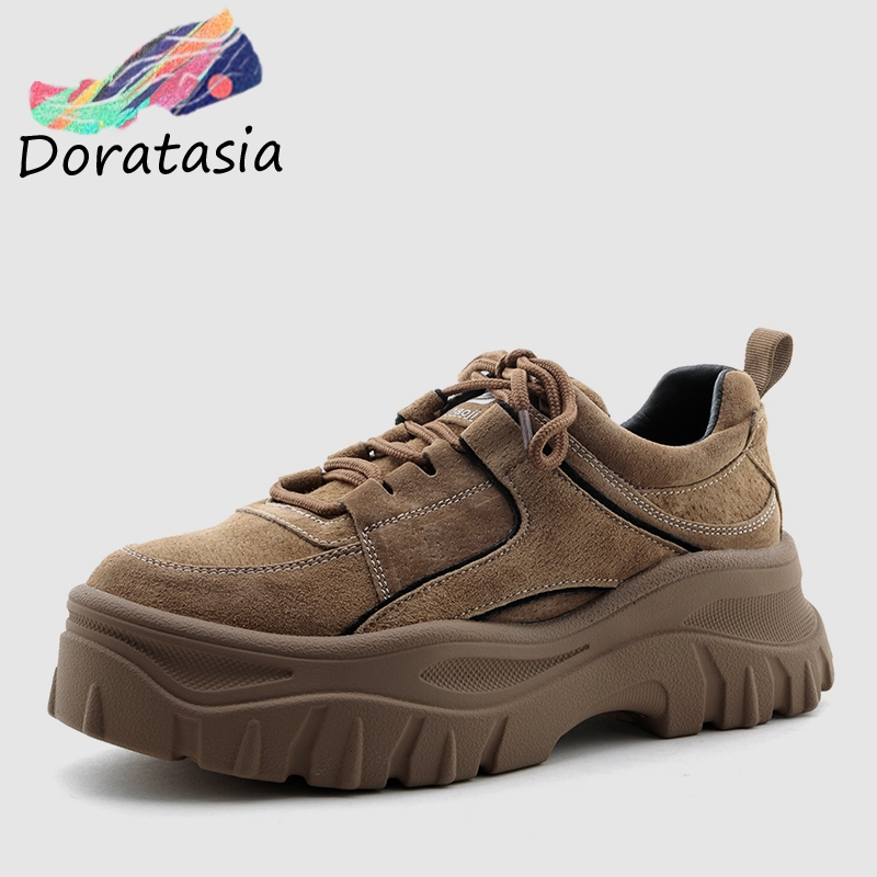 DORATASIA 2019 New Fashion Retro Pig Suede Dad Shoes Woman 2019 Thick Platform Sneakers Genuine Leather Girl High Shoes WomanDORATASIA 2019 New Fashion Retro Pig Suede Dad Shoes Woman 2019 Thick Platform Sneakers Genuine Leather Girl High Shoes Woman