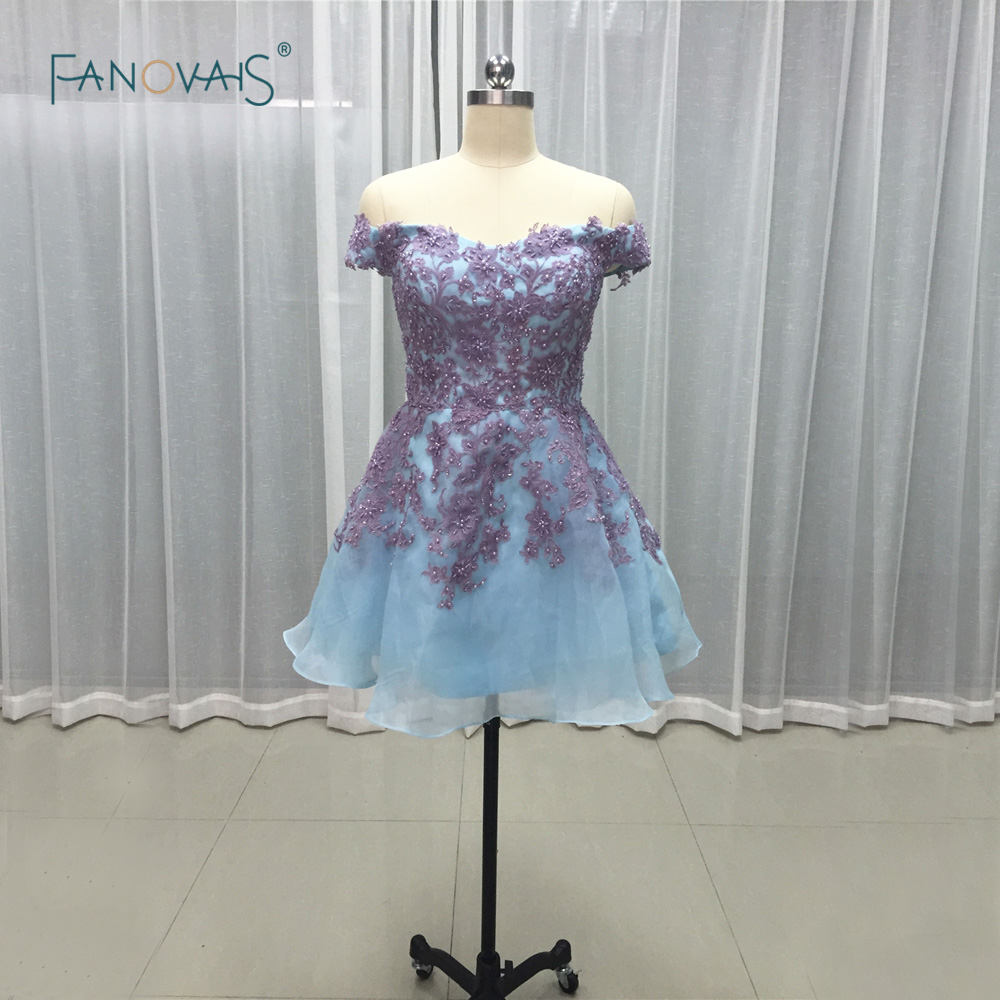 Top Quality Purple appliques off the shoulder   cocktail     dresses   sexy   dress   for party short robe   cocktail   2019 CKD-02