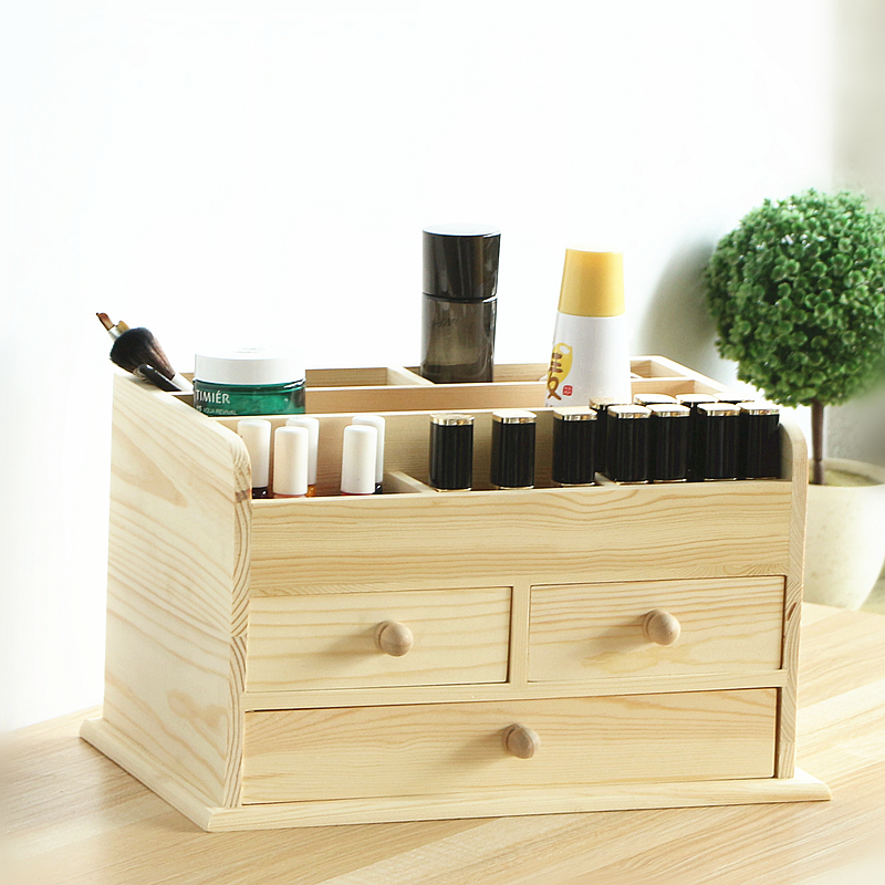 Coiffeuse boite cosmétique boite de finition bois massif simple bureau rangement tiroir maquillage rack boite de rangement