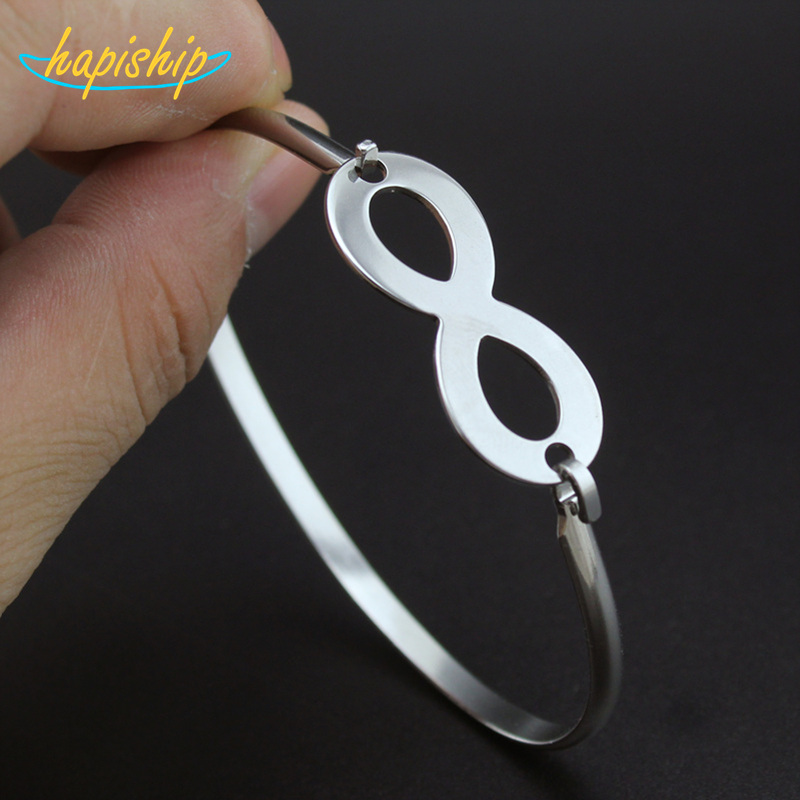 Hapiship 2017 New Love Boy And Girl Silver Color Stainless Steel Letter 8 Bangles Bracelets For Women Men Jewelry Gift BX12
