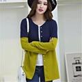 Mulheres Inverno Camisola Cardigans Botão Patchwork Marca de Moda Blusas Longas Cardigan Mulheres Tops Plus Size Chique Feminino Cardigans