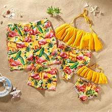 Family Matching Swimsuit Print Mother Daughter Father Son Beach Shorts Women Girls One Piece Swimwear