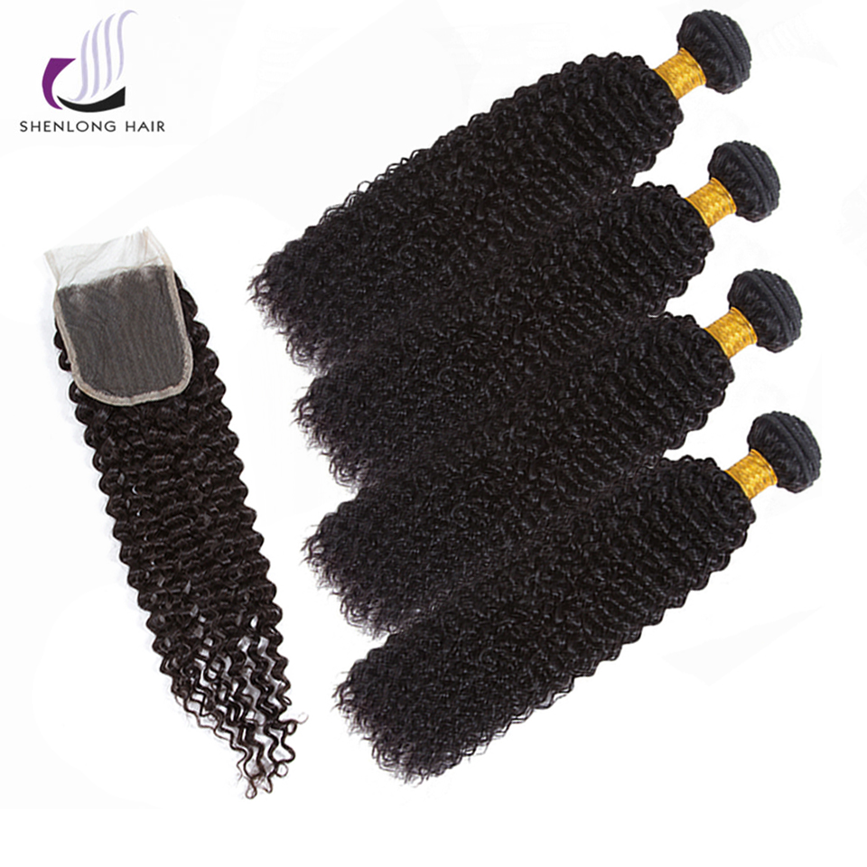 SHENLONG HAIR Kinky Curly Peruvian 100% Human Hair Non Remy Hair Weave Natural Color 4 Bundles With Lace Closure Hair Extension