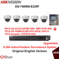 Hikvision English Security Camera System 5pcs DS 2CD2142FWD IWS 4MP IP Wifi Camera Audio POE 6MP