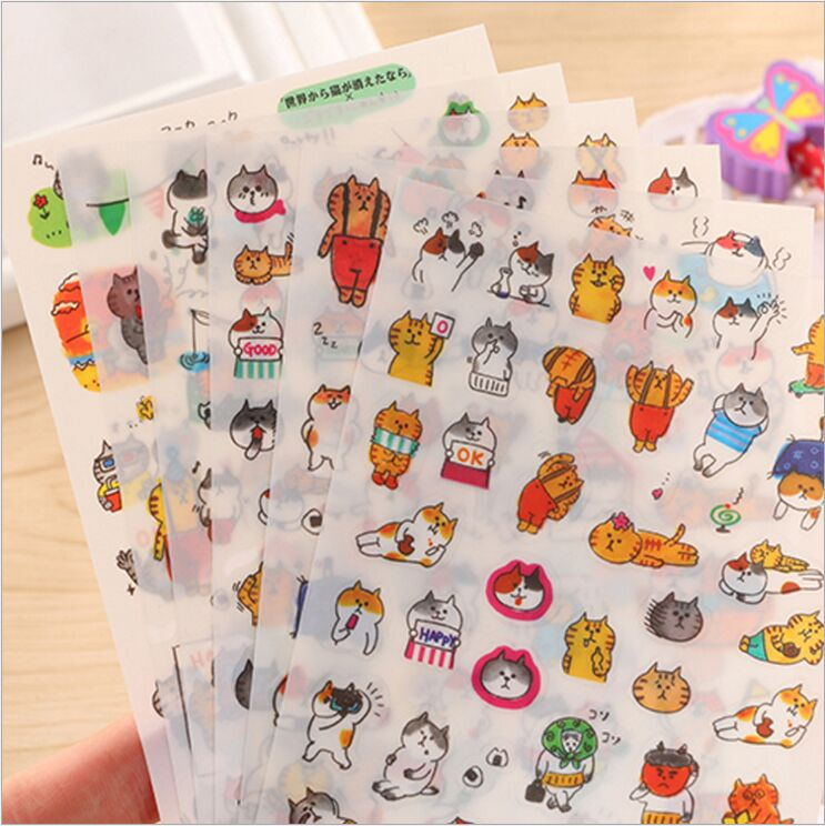 6 Sheets/Pack Japanese Funny Cat Meow cartoon expression face Decoration Diary stickers DIY planner phone album Lable stickers