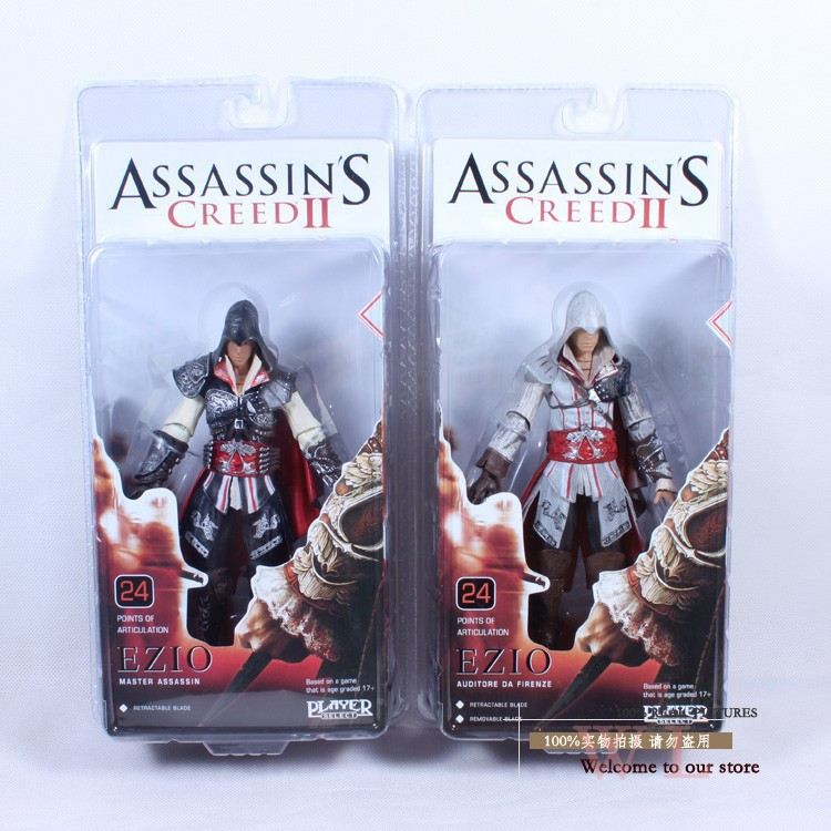 Free Shipping 1pcs Genuine NECA Assassin's Creed II EZIO Black&White 7 PVC Action Figure Toys Dolls Chritmas Gift MVFG026 lps pet shop toys rare black little cat blue eyes animal models patrulla canina action figures kids toys gift cat free shipping