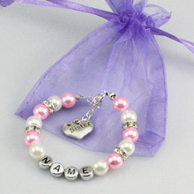 New name Personalised Girl baby Birthday Christmas Gift Charm name Bracelet with bag-light pink