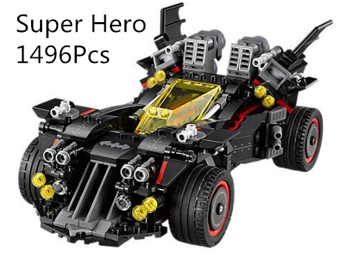 CX 07077 1496Pcs Model building kits Compatible with Lego 70917 Batmobile Bat Motorcycle 3D Bricks figure toys for children