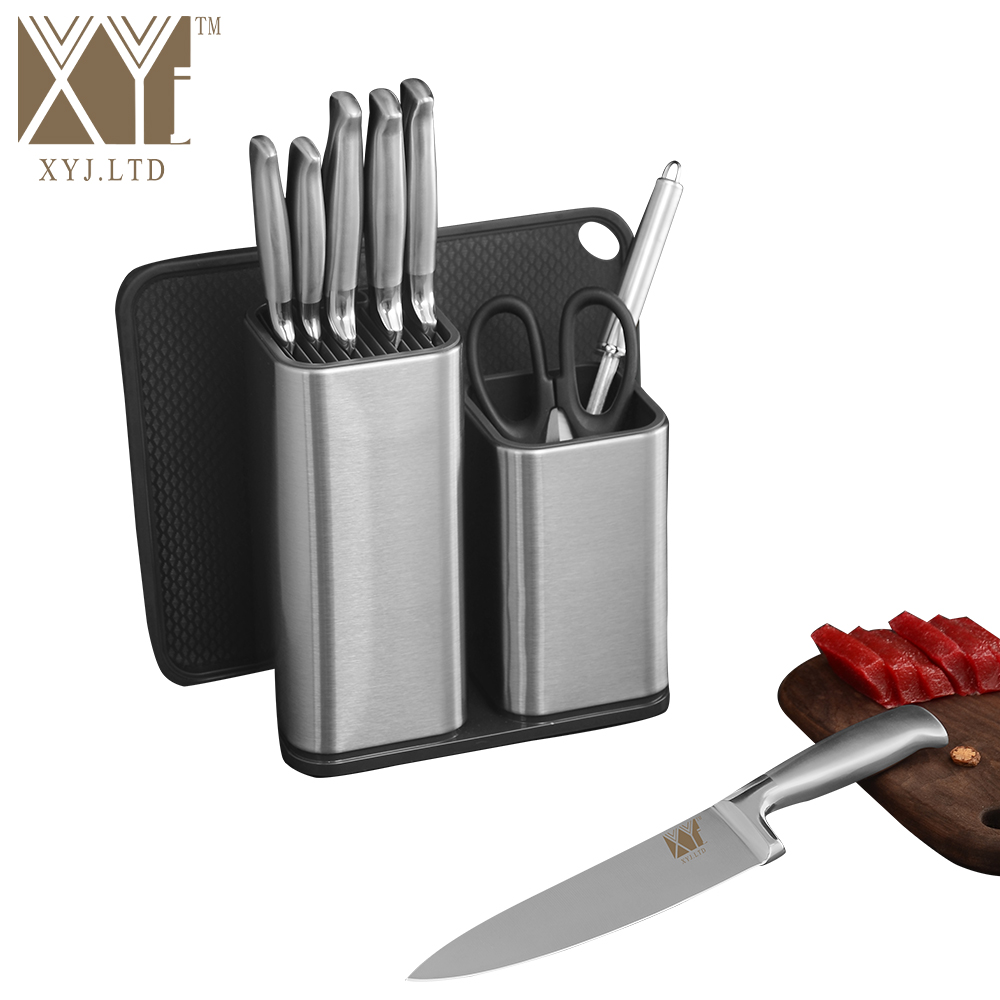 XYj 6 And 8 Inch Double Stainless Steel Kitchen Knife Holder Save Space Kitchen Helper Flexible Multifunction Cooking Accessory