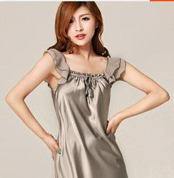 The New Silk Sling Female Silk Nightgown Siamese Ruffle Sexy Slim Silk Pajamas Home Furnishing Summer Clothes