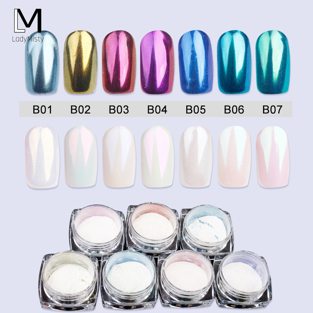 LadyMisty Nail Art Glitter Chrome Powder for Nail Art Decorations Holographic Powder Nail Dust Polishing for Nails
