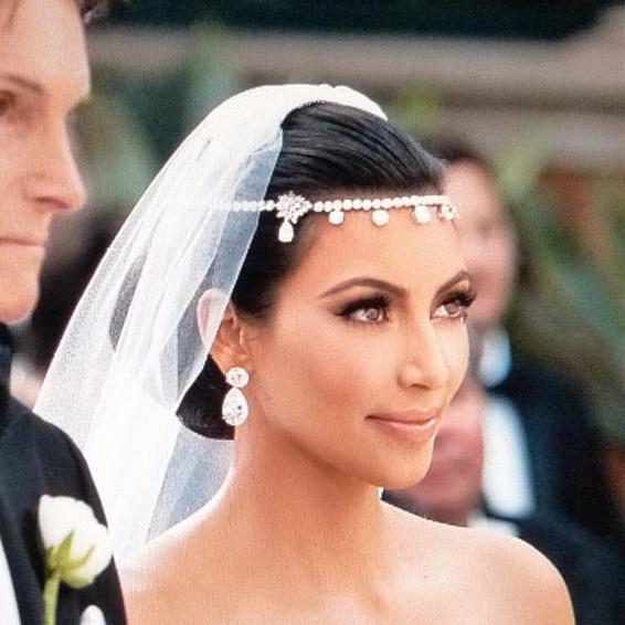 뜨거운 판매 김 Kardashian 웨딩 신부 보석 헤어 액세서리 라인 석 꽃 머리띠
