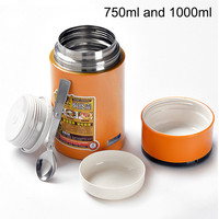 Stainless Steel Thermo Lunch Box Soup Mug 1L Food Container Thermos Portable Handle Vacuum Insulated Container Inox Spoon