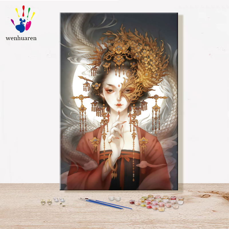 Paint By Numbes Art Painting By Numbers Cartoon Chinese Style Suit Combination Oil Painting Characteristic Filling And Coloring
