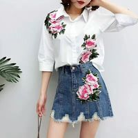 2017 New Women Shirts Embroidery European Tide Two Bull puncher Suits Blouse Shirt Peony 1019