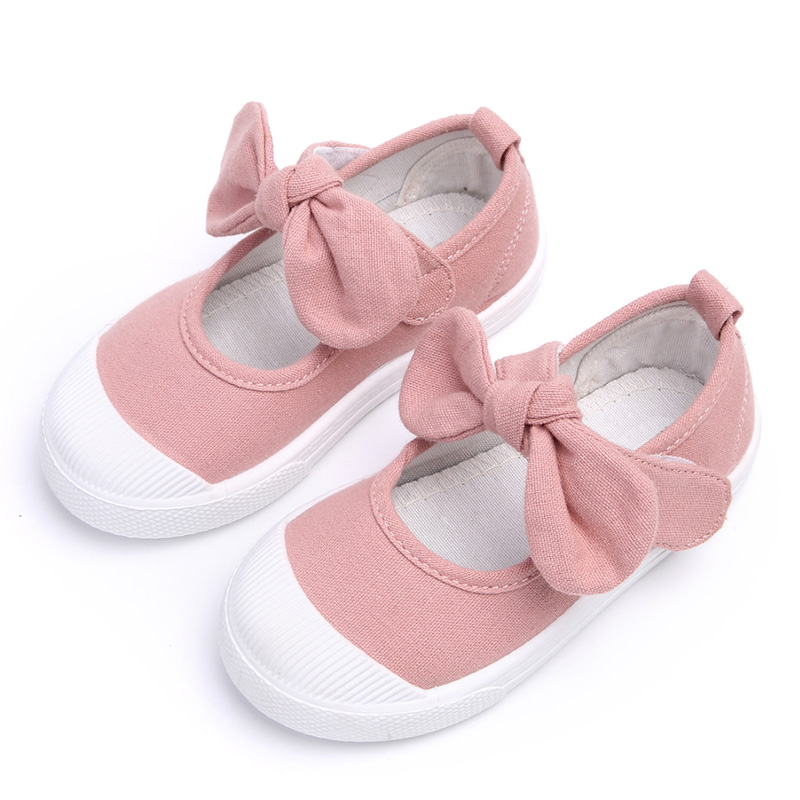 Fall 2018 Children Shoes Girls Canvas Shoes Fashion Bowknot Comfortable Kids Casual Shoes Sneakers Toddler Girls Princess Shoes