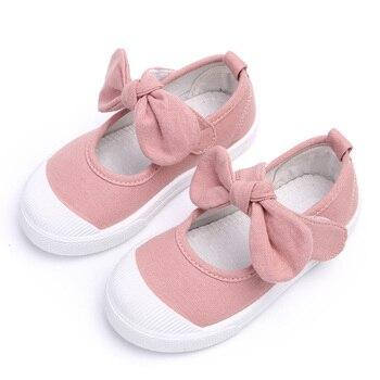 Mùa thu 2018 Trẻ Em Giày Nữ Vải Giày Giày Thời Trang Bowknot Trẻ Em Thoải Mái Giày Thường Giày Thể Thao Toddler Cô Gái Công Chúa Giày