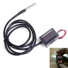 0.36 дюймов красный цифровой DS18B20 Термометр Водонепроницаемый LED Дисплей Термометры метр тестер dc4-28v-55 ~ 125 по Цельсию