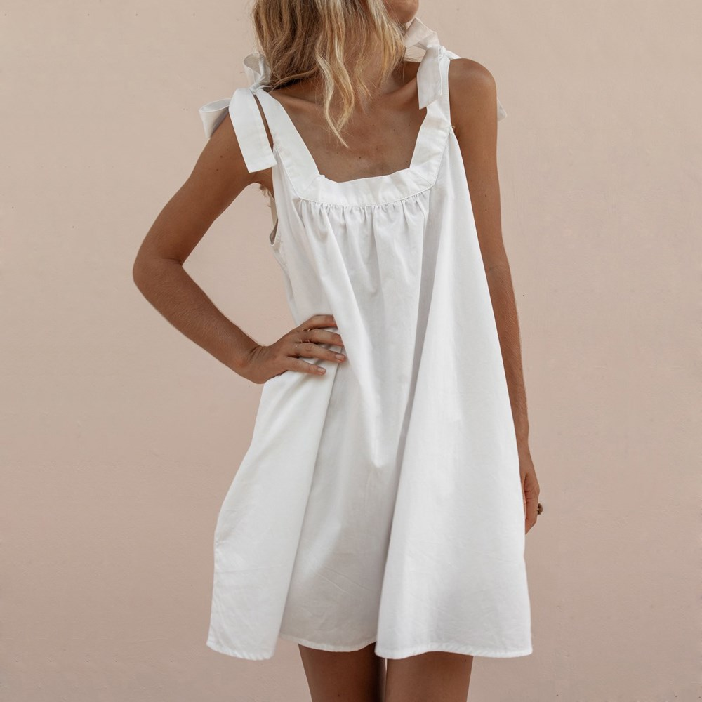 2019 Summer Women Sexy Off Shoulder Sundress Lace Up Sleeveless Mini Dress Slash Neck Beach Party Dress in Dresses from Women 39 s Clothing
