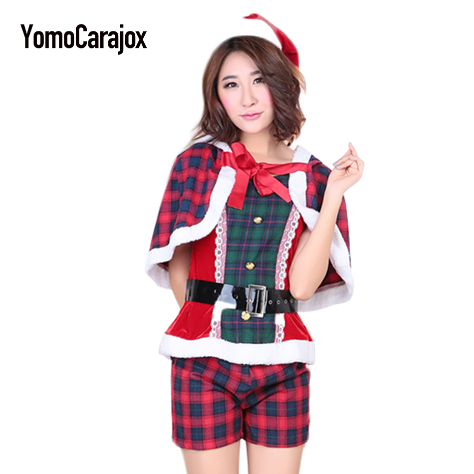 Santa Claus Costume Erotic 2018 Female Hot Sexy Baby Doll Sexy Lingeries New Year's Plaide Costume for Women Coseplaying Gifts