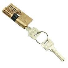 7 Pins Cutaway Ambos Extremos de Latón Candado Abierto Rápido Práctica Lock Cerrajero Clave
