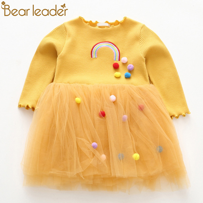 Bear Leader Girls Dresses 2018 New Fashion Princess Clohting Rainbow Embroidery Hairball Decoration Net Yarn Puff Dress For3-7Y карандаши