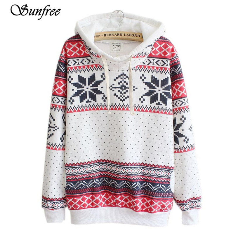 Sunfree Hot Sale Women Christmas Snow Hoodie shirt Jumper Hooded Pullover Brand New and High Quality Nov 15