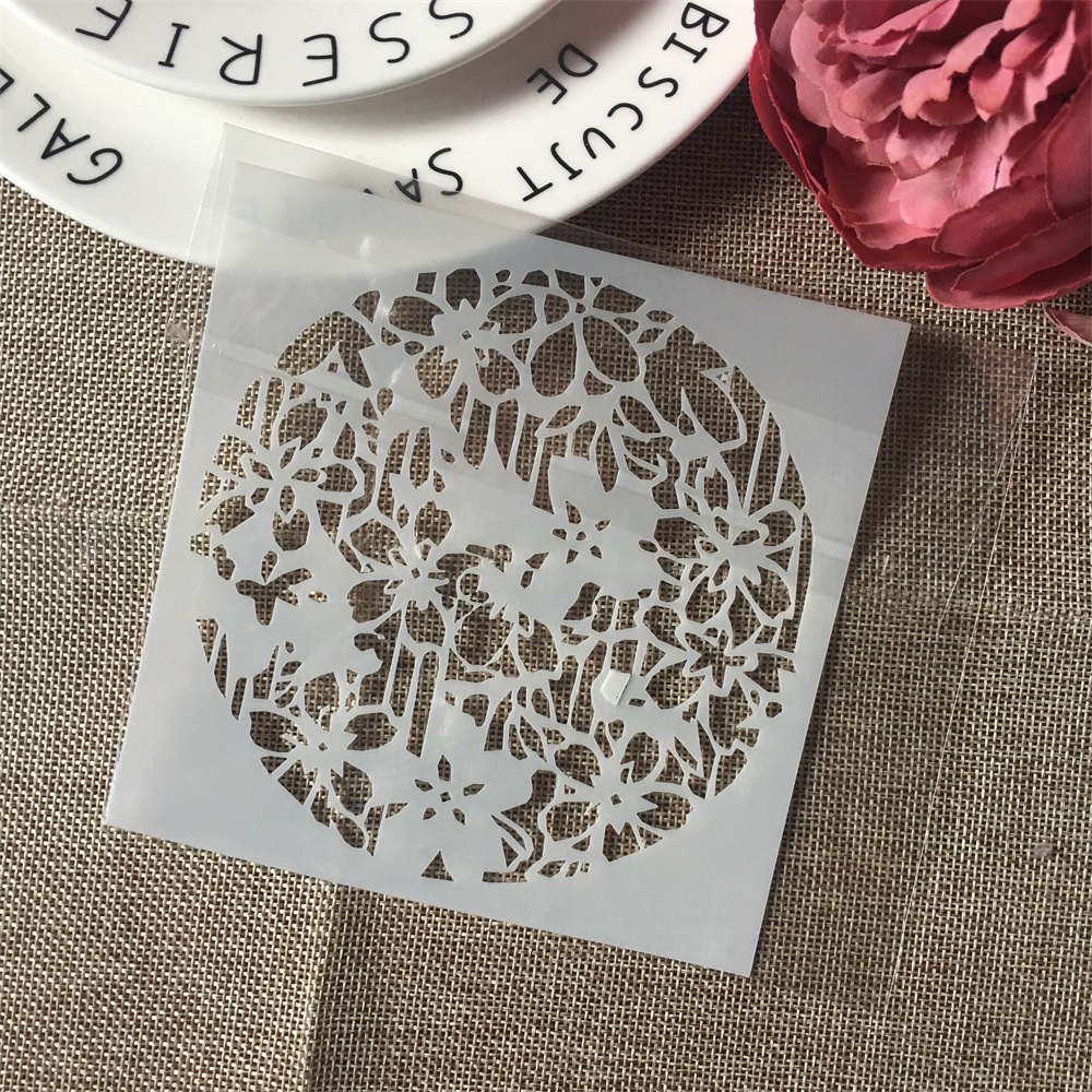 1Pcs 13cm Circle Flower Design 84 DIY Layering Stencils Wall Painting Scrapbook Coloring Embossing Album Decorative Template