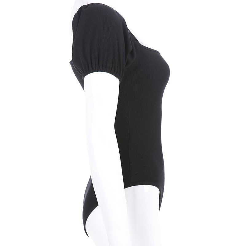 Sweetown черный однотонный тонкий базовый облегающий костюм для женщин Весна Лето 2019 короткий рукав чарующие боди Le Palais Винтаж