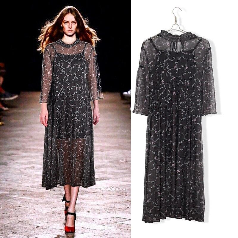Msh Transparency L 5XL Plus Size Casual Women Dress 2019 Autumn Fashion 2 Piece Print Elegant