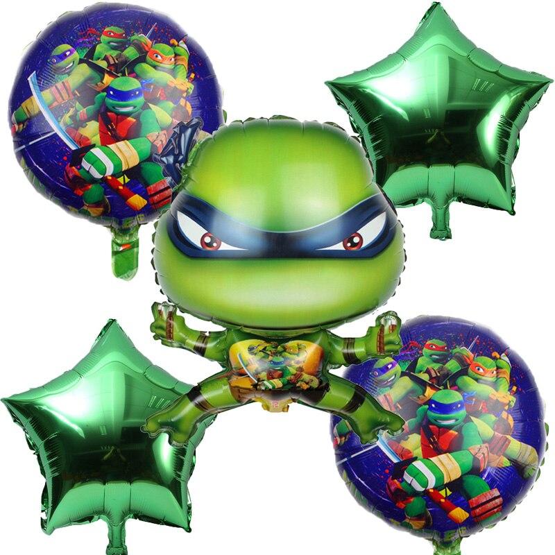 5pcs/set Teenage Mutant Ninja Turtle Foil Balloons Star Balloon Birthday Party Decorations Kids Toy Supplies Baby Shower Globos