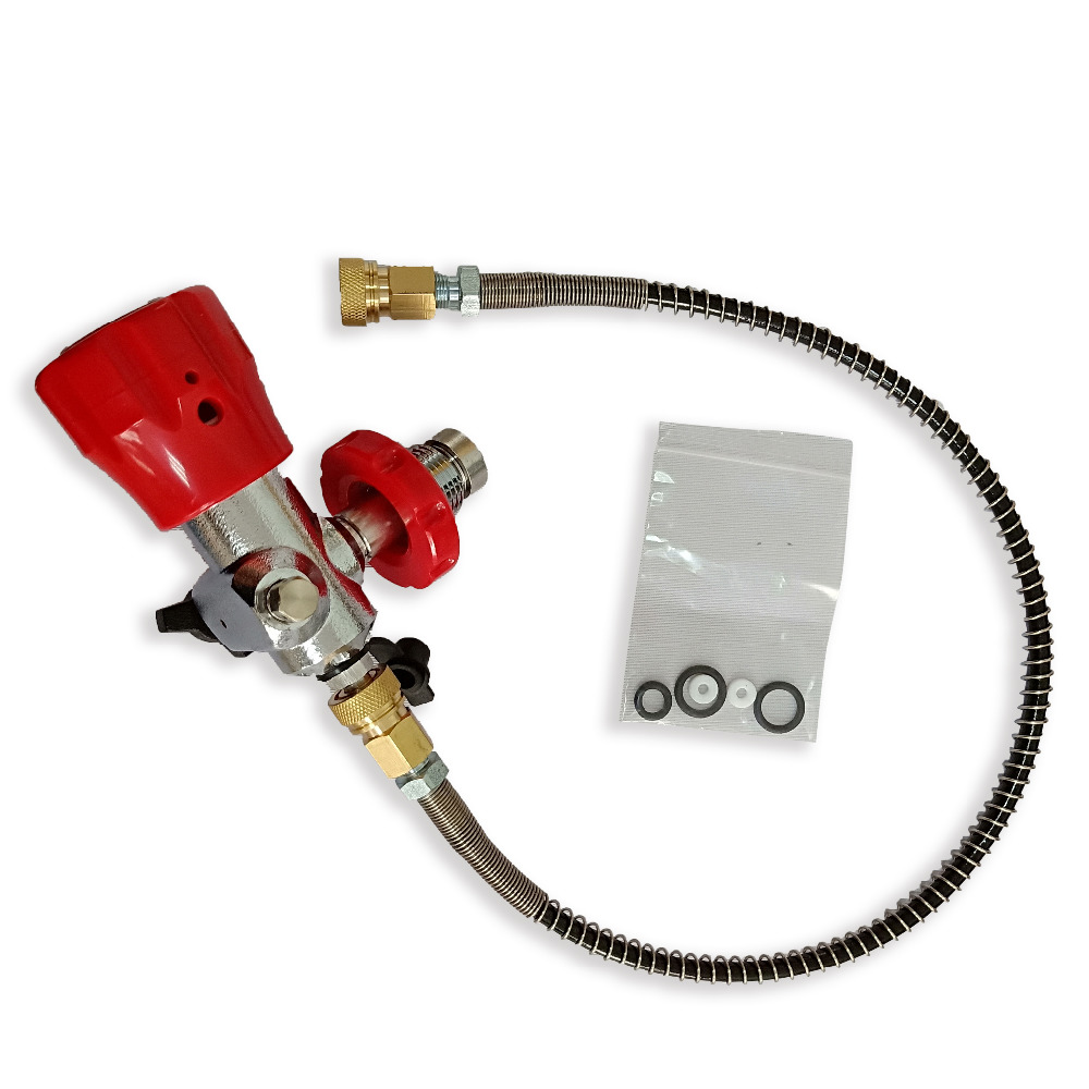 Carbon Fiber Paintball Tank Valve Refill Station Filling Charging Adaptor With Hose And Quick Connector