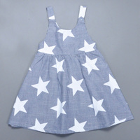 Retail Ins Summer Baby Girl Dress Fashion Star Pattern Striped Princess Dress Lovely Toddler Girl Birthday