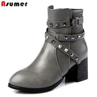 New Fashion Side Zipper Rivets Convenient Buckle Ladies Punk Ankle Boots Pu Soft Leather Popular Autumn